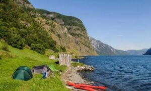 camping trip with kayaks